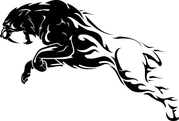 セイバートゥース炎抽象 - 炎のタトゥー点のイラスト素材/クリップアート素材/マンガ素材/アイコン素材