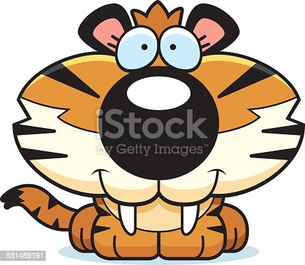 A cartoon saber-toothed tiger cub happy and smiling.