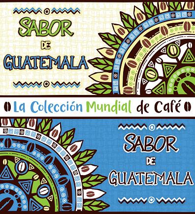 Sabor de Guatemala, Taste of Guatemala. Hand drawn illustrations set