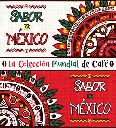 Sabor de México, Taste of Mexico. Hand drawn illustrations set