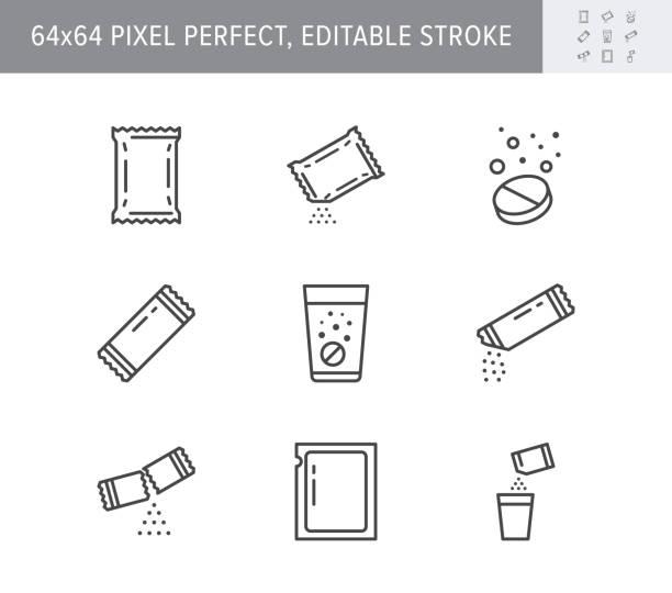 bildbanksillustrationer, clip art samt tecknat material och ikoner med ikoner för sachet-linjen. vektor illustration ingår ikonen som socker pulver paket, lösliga piller, brusande effekt kontur piktogram för medicin. 64x64 pixel perfekt redigerbar linje - paket