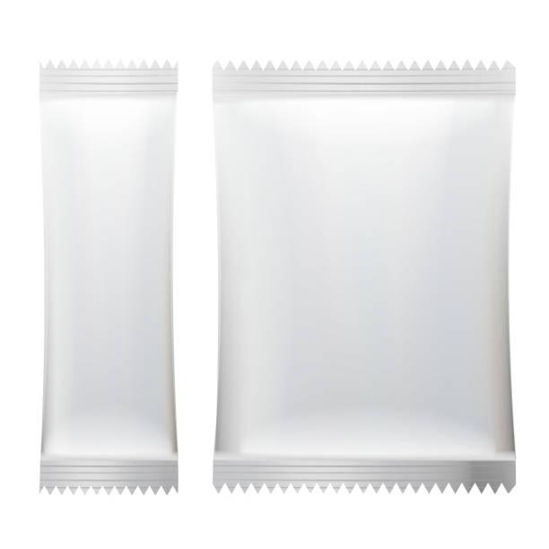 illustrazioni stock, clip art, cartoni animati e icone di tendenza di sachet vector. white empty clean blank of stick sachet packaging. realistic isolated illustration - gelato confezionato