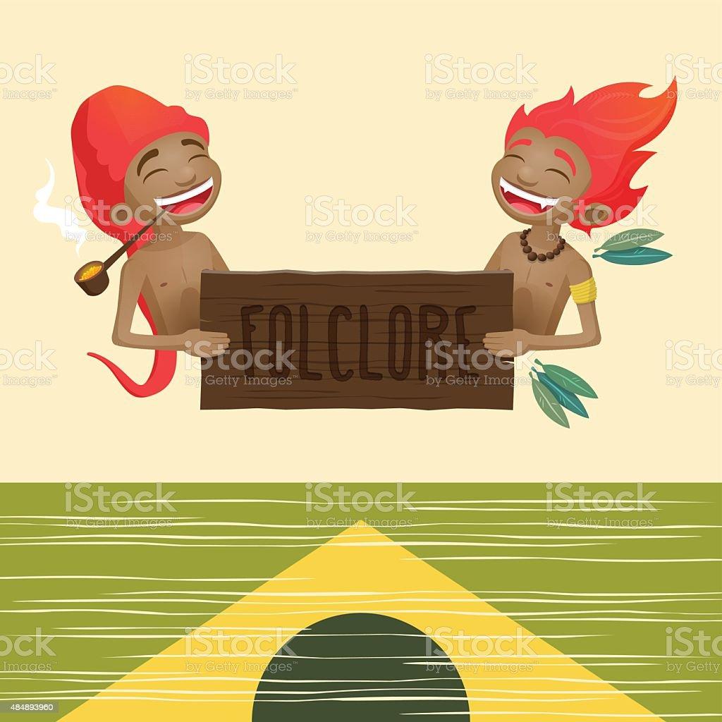 Saci pererê and Curupira vector art illustration