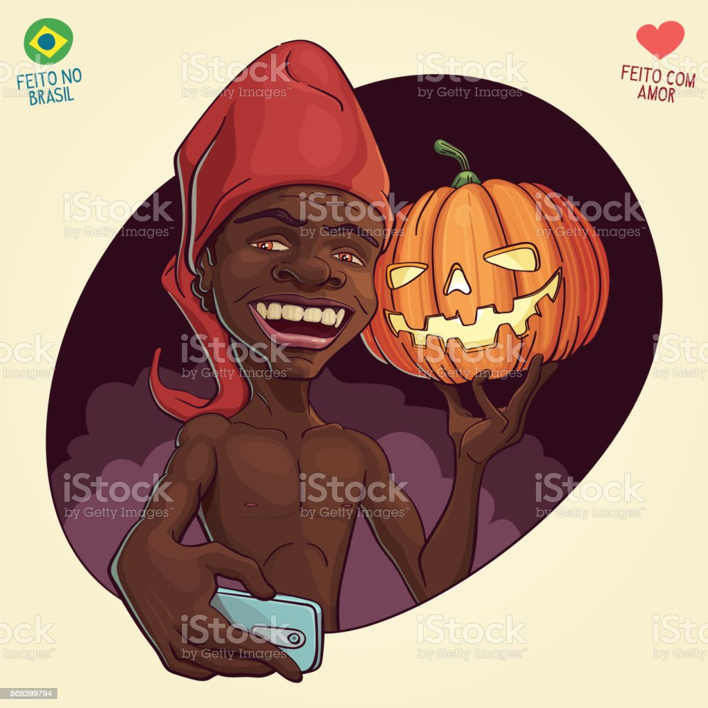 Saci Perere day and Halloween - October 31th vector art illustration