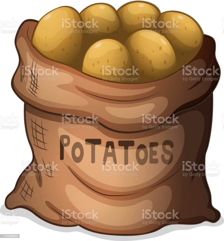 Sack of potatoes vector art illustration
