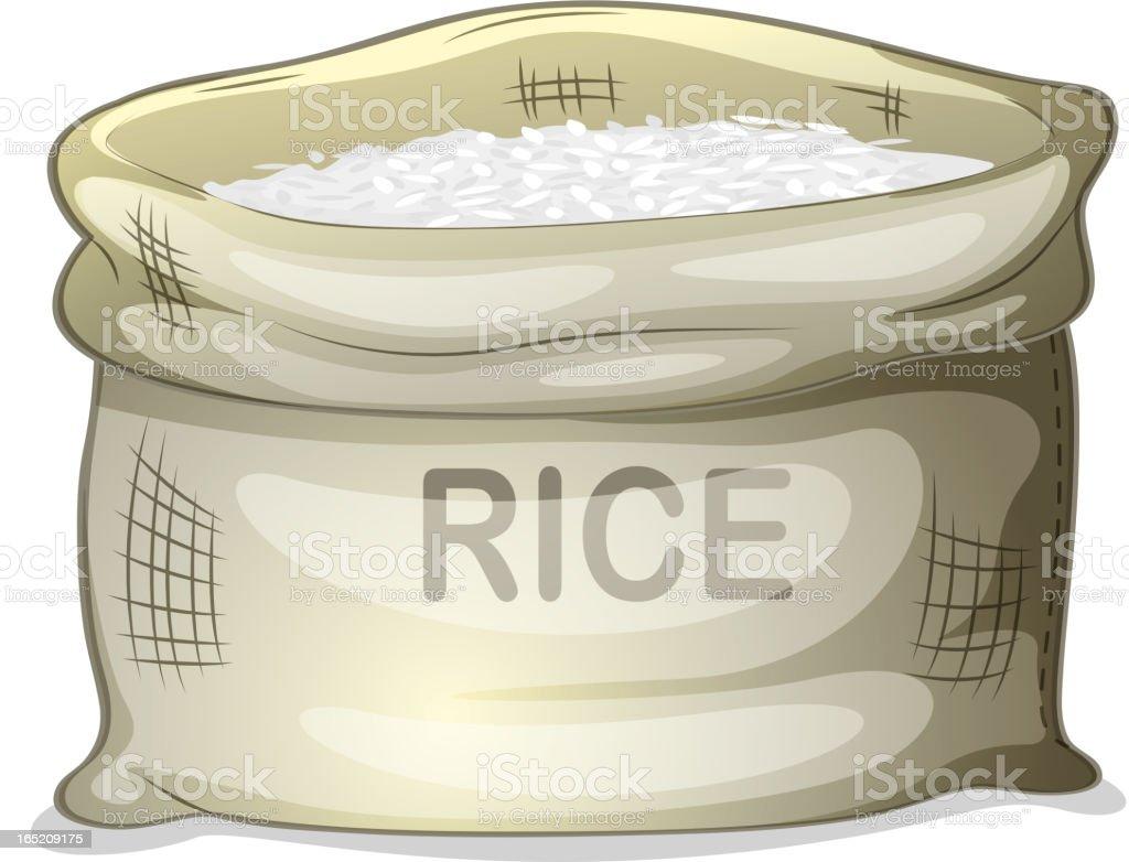 Sack of white rice vector art illustration