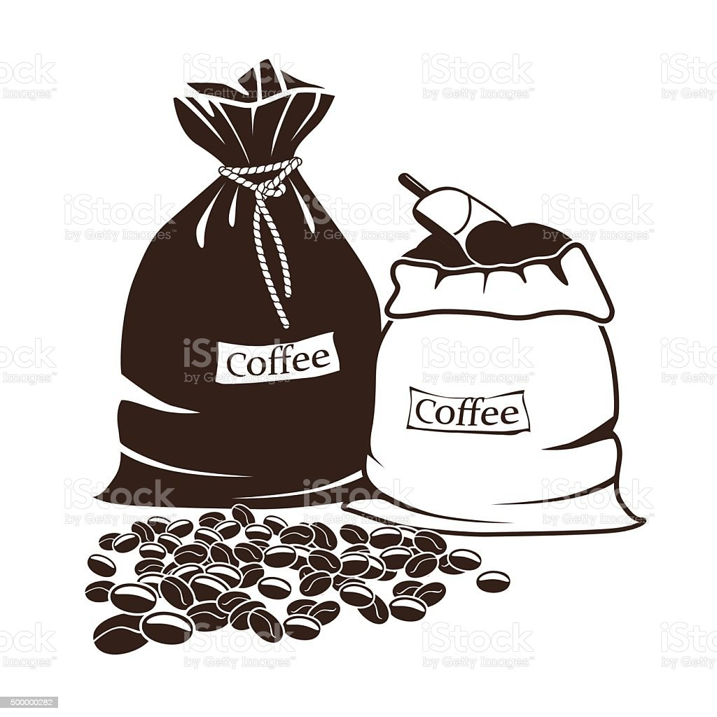 sacks of coffee and coffee beans vector art illustration