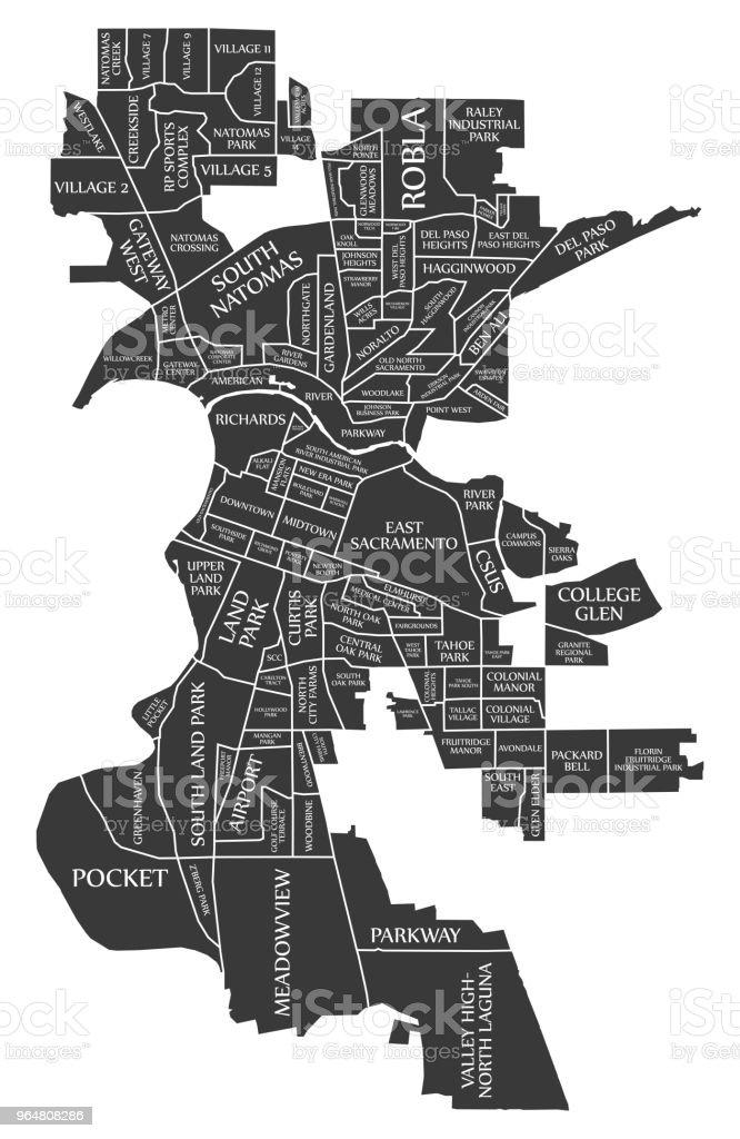 Sacramento California city map USA labelled black illustration royalty-free sacramento california city map usa labelled black illustration stock vector art & more images of black color