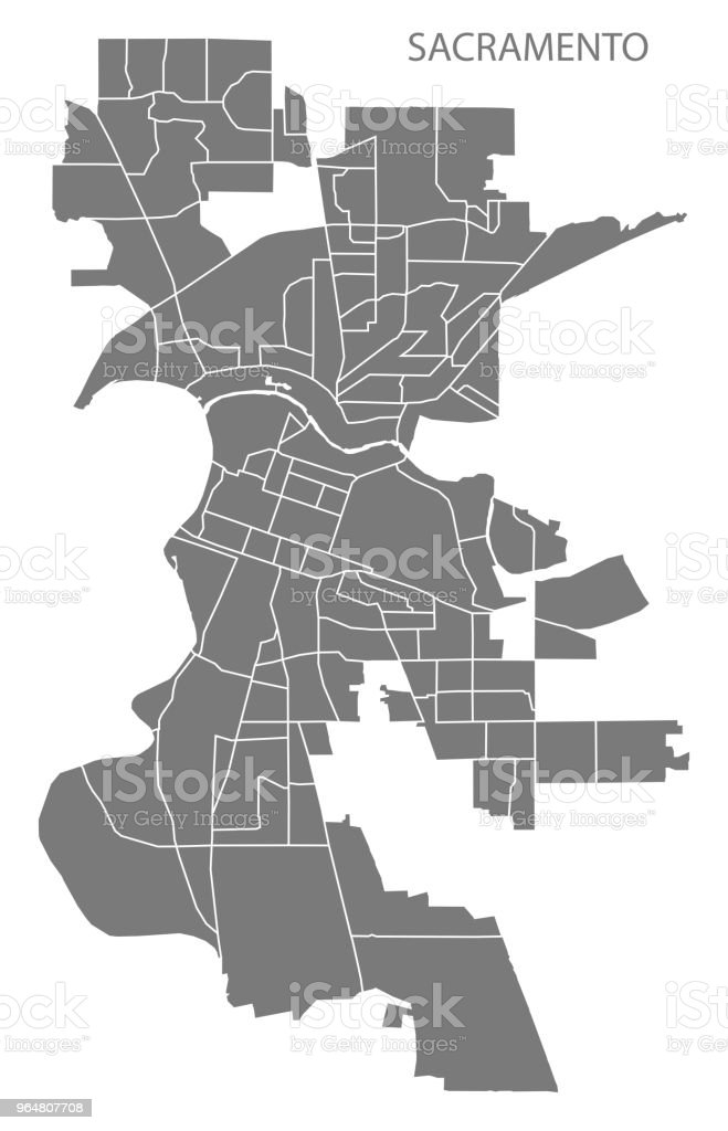 Sacramento California city map with neighborhoods grey illustration silhouette shape royalty-free sacramento california city map with neighborhoods grey illustration silhouette shape stock vector art & more images of borough - district type