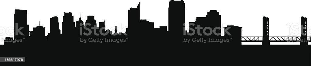 Sacramento California city skyline silhouette vector art illustration