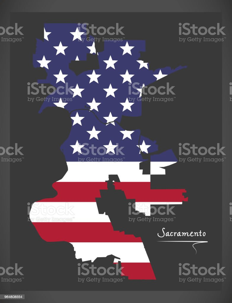 Sacramento California map with American national flag illustration royalty-free sacramento california map with american national flag illustration stock illustration - download image now