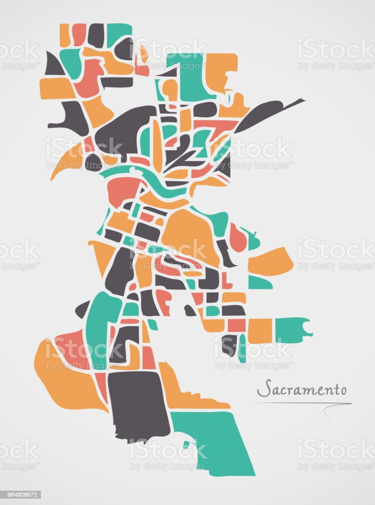 Sacramento California Map with neighborhoods and modern round shapes royalty-free sacramento california map with neighborhoods and modern round shapes stock vector art & more images of american culture