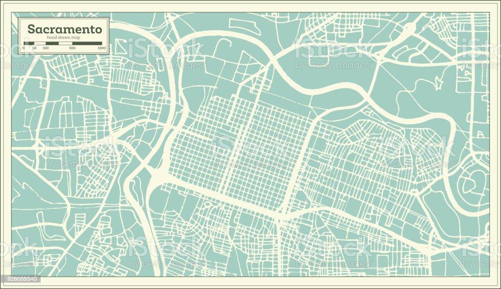 Sacramento California Usa City Map In Retro Style Outline Map Stock ...
