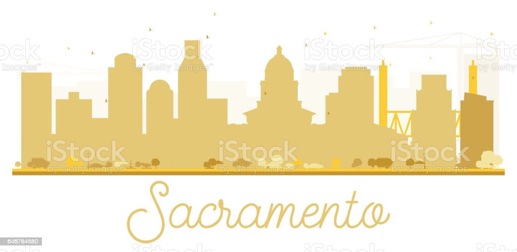 Sacramento City skyline golden silhouette. vector art illustration
