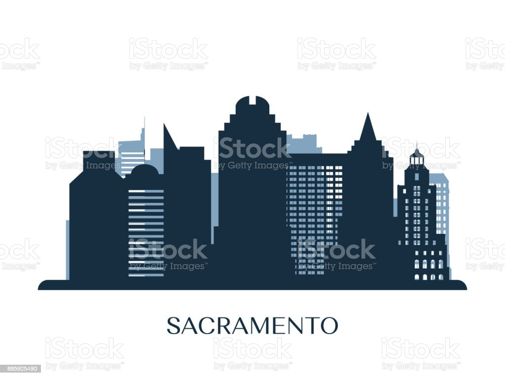 Sacramento skyline, monochrome silhouette. Vector illustration. vector art illustration