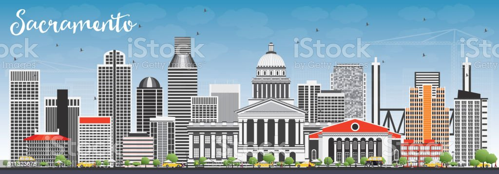 Sacramento Skyline with Gray Buildings and Blue Sky. vector art illustration