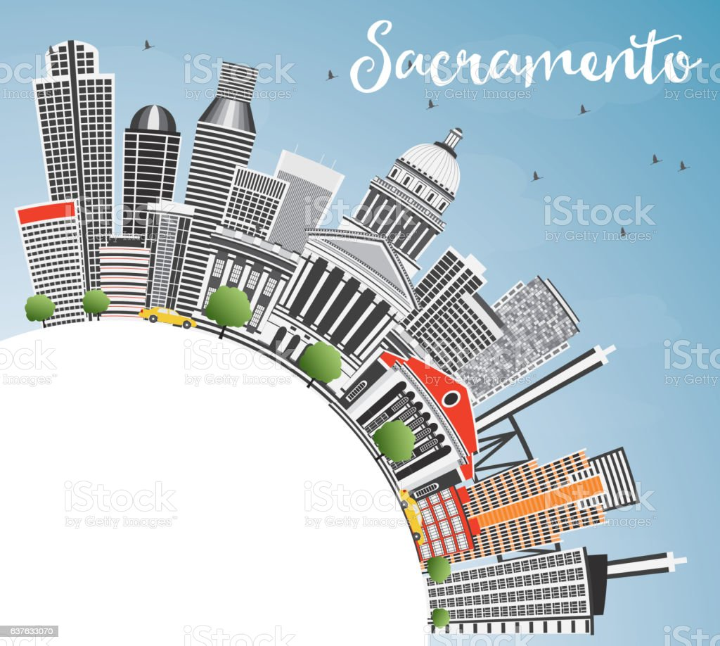 Sacramento Skyline with Gray Buildings, Blue Sky and Copy Space. vector art illustration