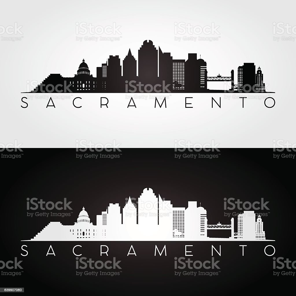 Sacramento USA skyline and landmarks silhouette. vector art illustration