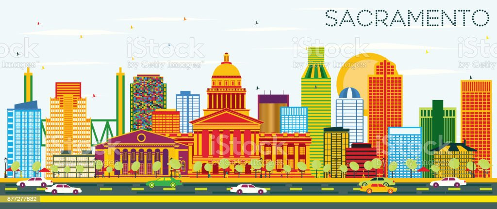 Sacramento USA Skyline with Color Buildings and Blue Sky. vector art illustration