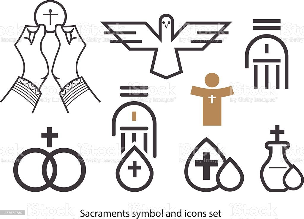 Sacraments icon set. vector art illustration