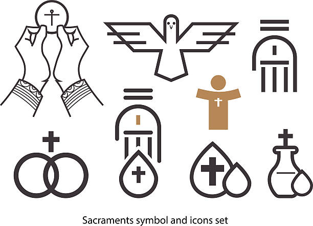 sacraments icon-set. - taufe stock-grafiken, -clipart, -cartoons und -symbole