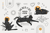 Sacred Cats modern graphic design. The eclectic style set with black cats, palm leaves, stars, halos, and geometric elements. Trendy vector composition.