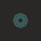 Sacred geometric logo, turquoise intersection line hipster celtic emblem