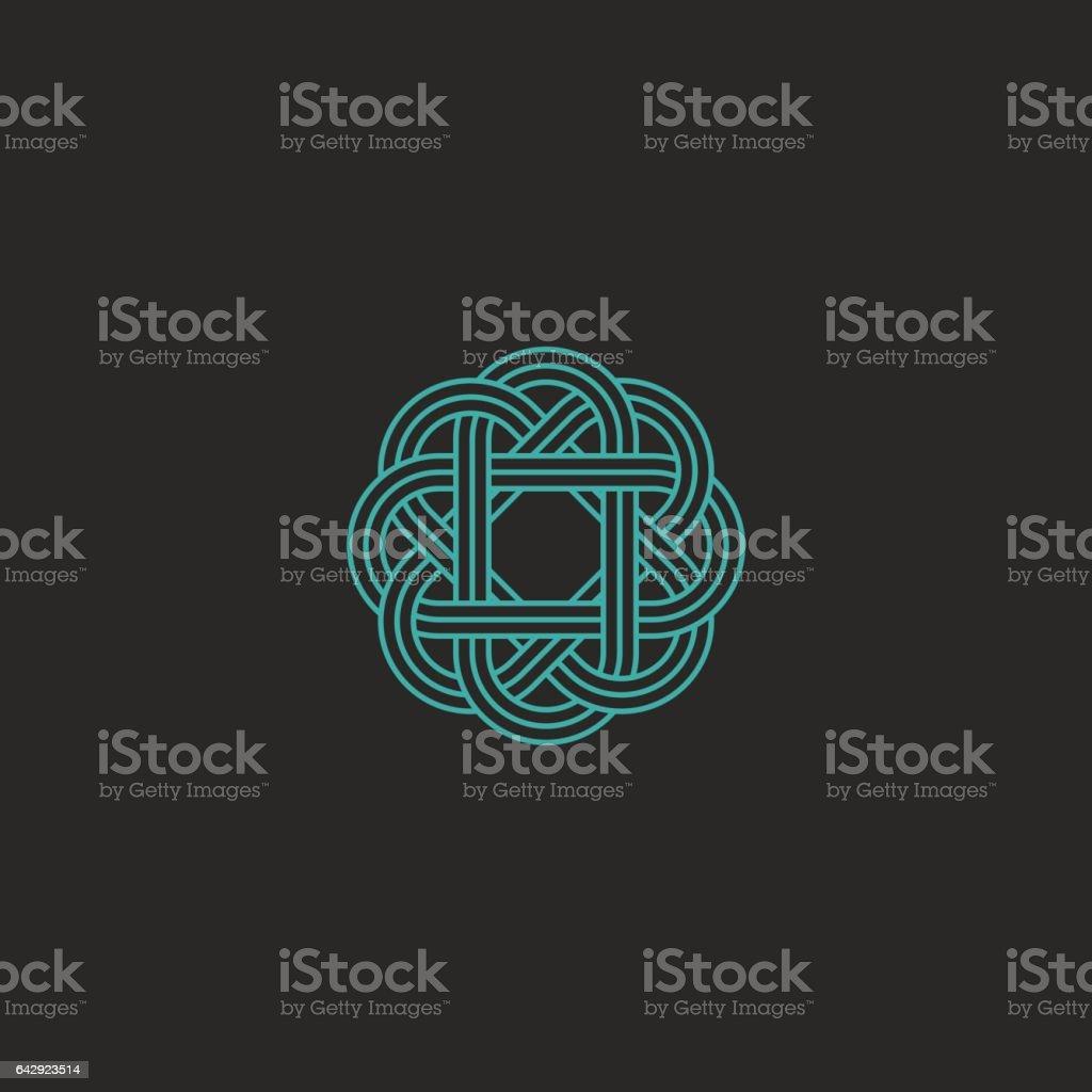 Sacred geometric logo, turquoise intersection line hipster celtic emblem vector art illustration