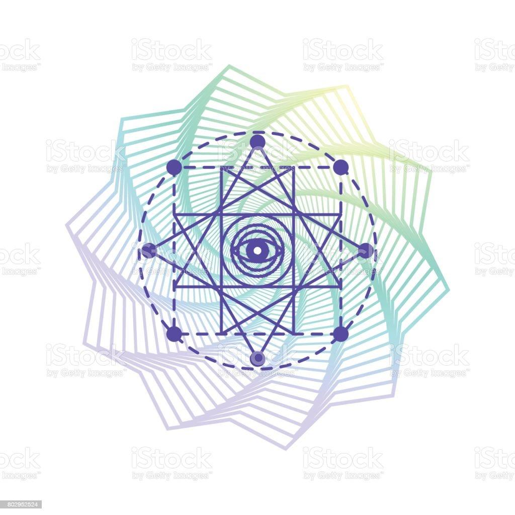 Símbolo de geometría sagrada alquimia, aislado en blanco con la forma del mandala de la flor gradiente - ilustración de arte vectorial