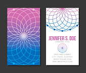 A business card design template featuring a Sacred Geometry symbol. The symbol on the back of the card is transparent (Overlay opacity) and file uses clipping masks that will need to be removed in order to edit (right-click and select 'Remove Clipping Mask' in Illustrator).