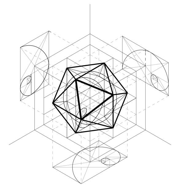 sacred geometry construction of the icosahedron. geometric abstract vector background. golden section. - золотое сечение stock illustrations