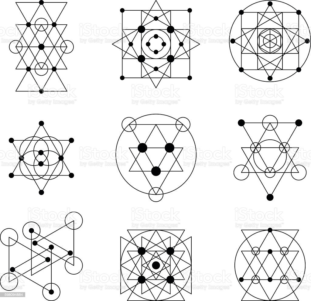 Sacred geometry elements - ilustración de arte vectorial