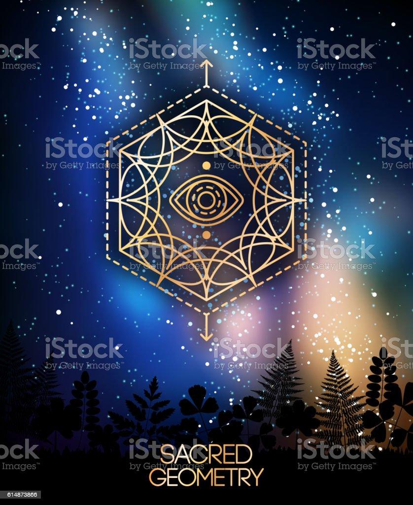Sacred Geometry Emblem with Eye in Hexagon vector art illustration