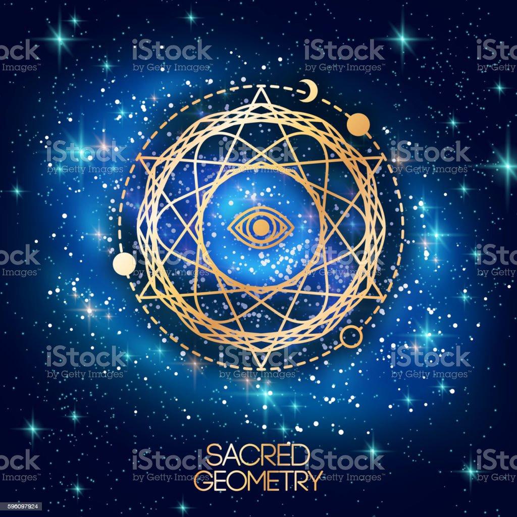 Sacred Geometry Emblem with Eye in Star Lizenzfreies sacred geometry emblem with eye in star stock vektor art und mehr bilder von abstrakt