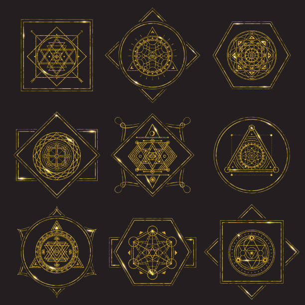 sacred geometry forms golden frame on black background with metal highlights - freemasons stock illustrations