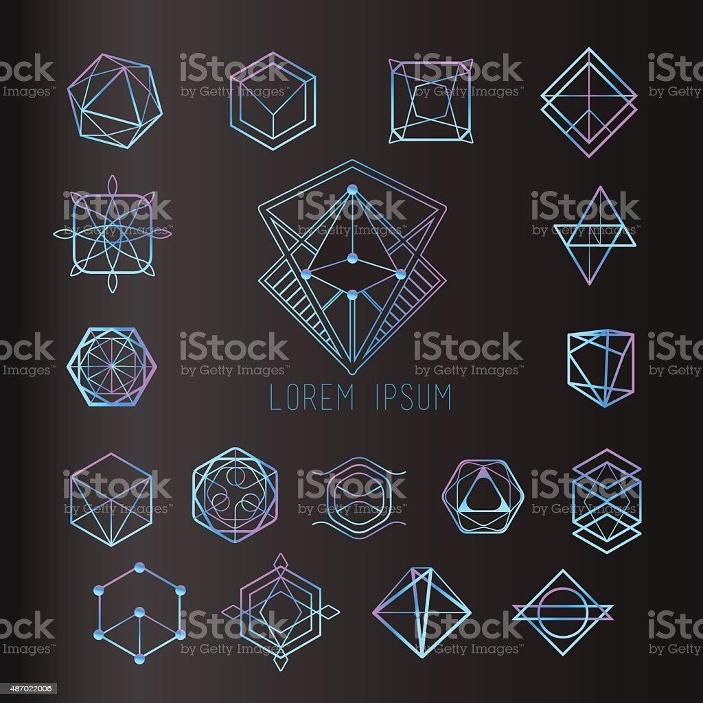Sacred geometry forms, shapes of lines, logo, sign, symbol vector art illustration