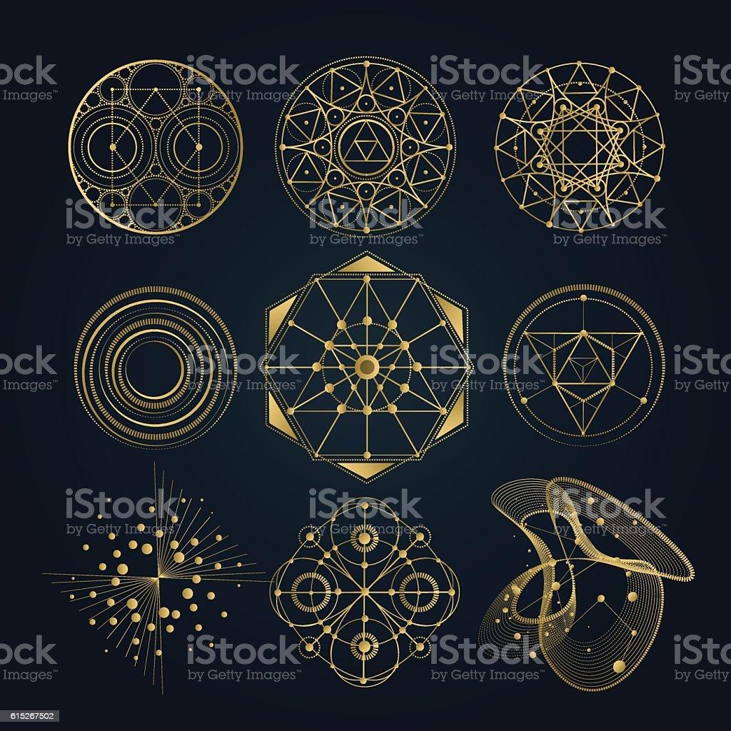 Sacred geometry forms, shapes of lines, logo, sign, symbol. - ilustração de arte em vetor