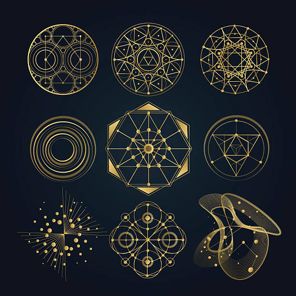 Sacred geometry forms, shapes of lines, logo, sign, symbol. vector art illustration