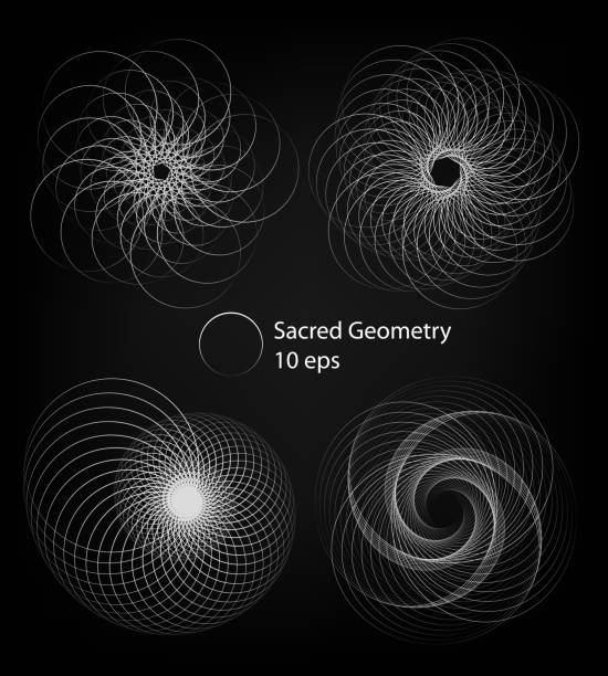 sacred geometry forms, spiral, shapes set of lines. circle rotation patterns. abstract shapes. isolated on black background. outline mandala frames. vector 10 eps illustrations - сетка фибоначчи stock illustrations