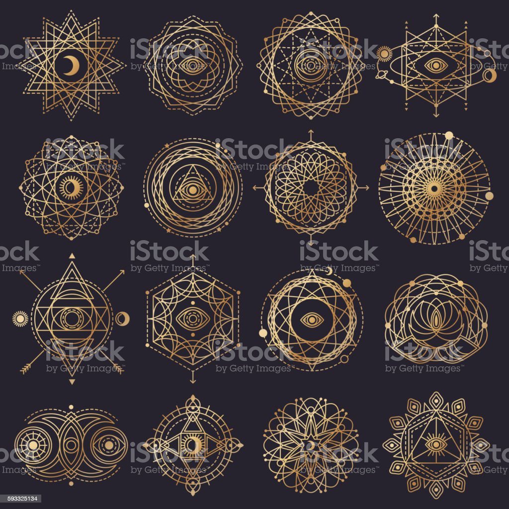 Sacred Geometry Forms with Eye, Moon and Sun vector art illustration