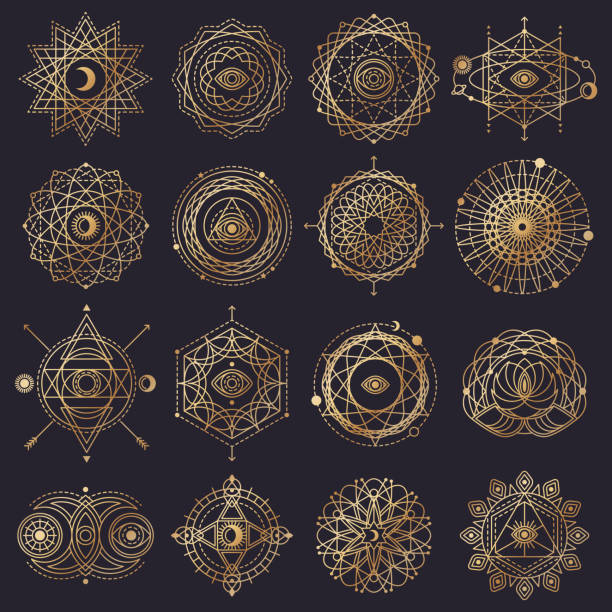 sacred geometry forms with eye, moon and sun - freemasons stock illustrations