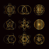 A set of different Sacred Geometry symbols.