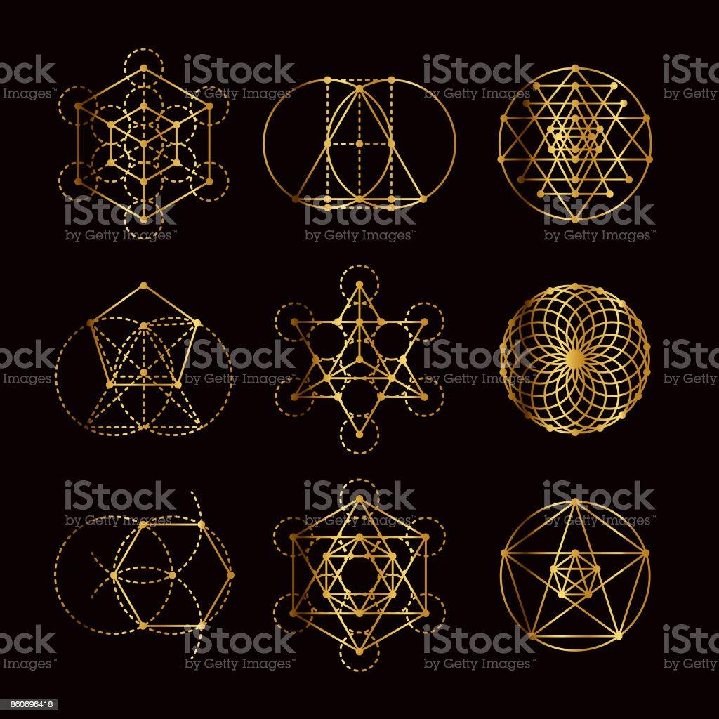 Conjunto de ícones de ouro de geometria sagrada - ilustração de arte em vetor
