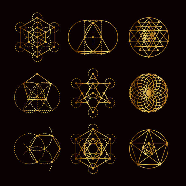 Sacred Geometry Gold Icon Set vector art illustration