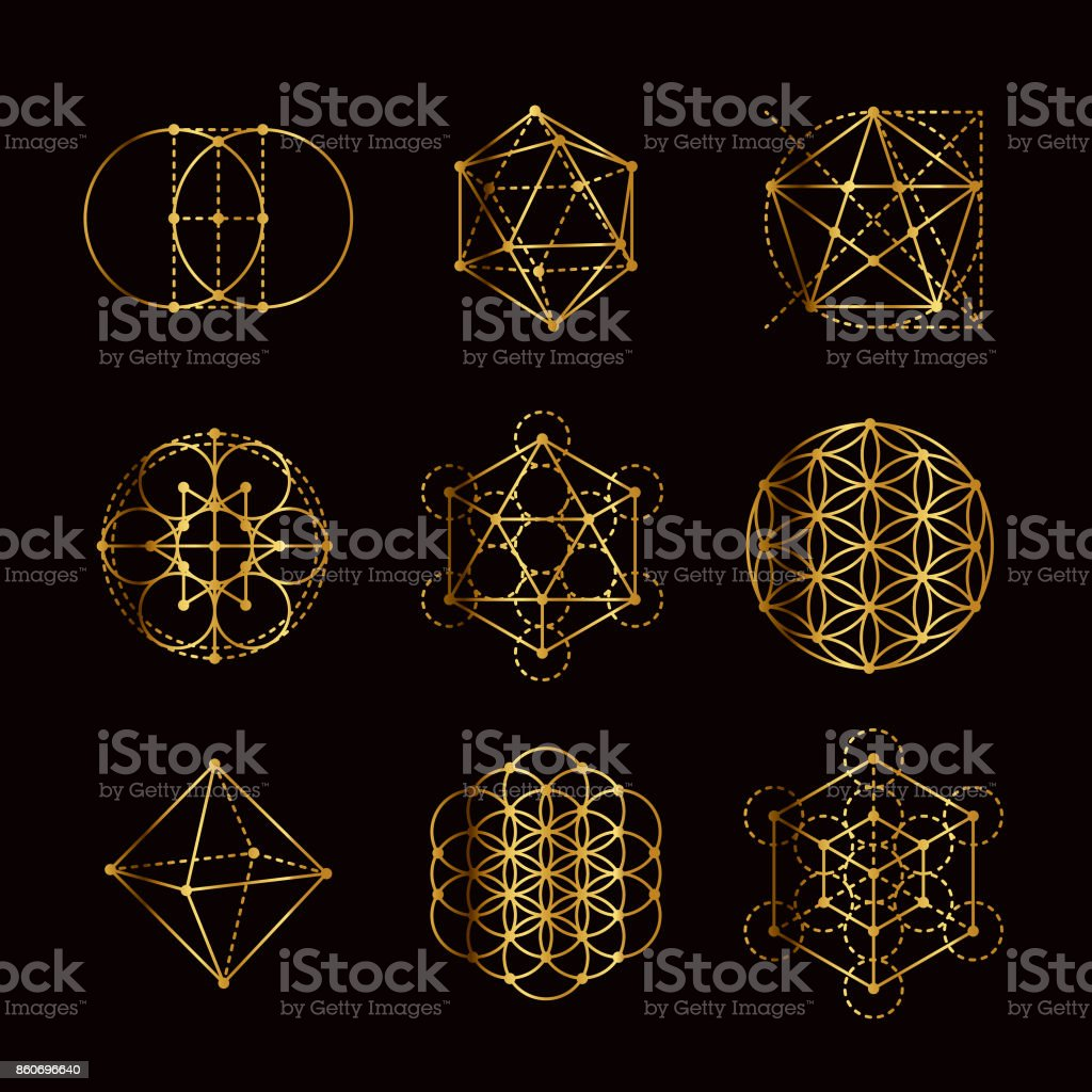 Sacred Geometry Gold Icon Set Stock Vector Art & More Images of