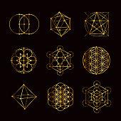 A set of different Sacred Geometry symbols.