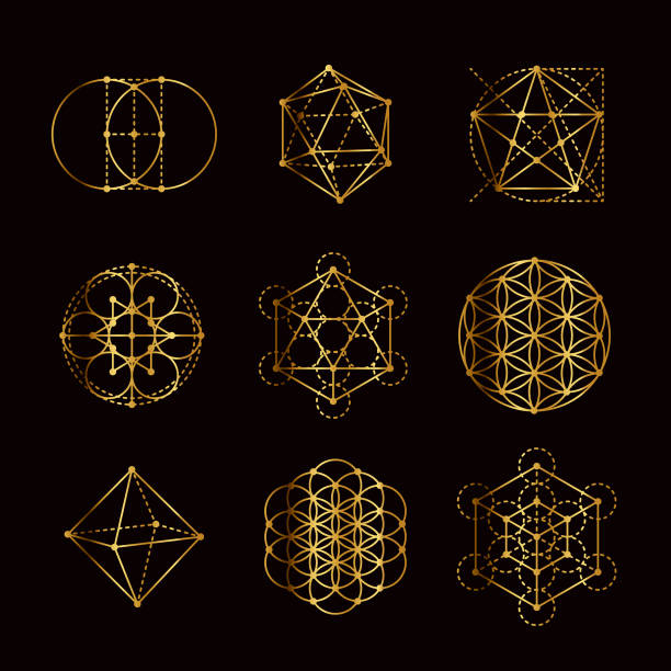 Sacred Geometry Gold Icon Set vector art illustration