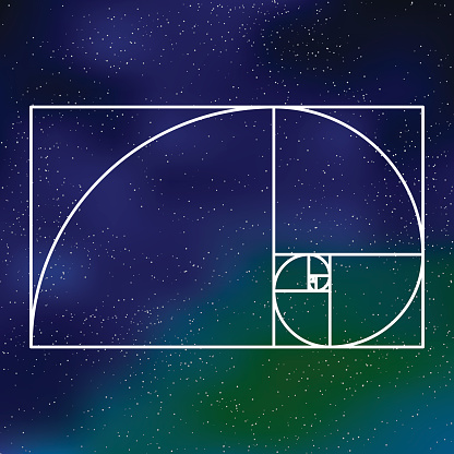 Sacred Geometry Golden Section Icon On A Galactic Background向量圖形及更多三角形圖片