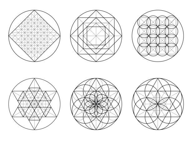 sacred geometry. golden section. vector 10 eps - золотое сечение stock illustrations