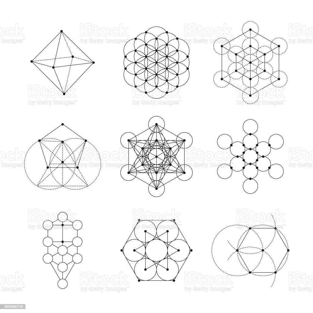 Conjunto de iconos de geometría sagrada - ilustración de arte vectorial